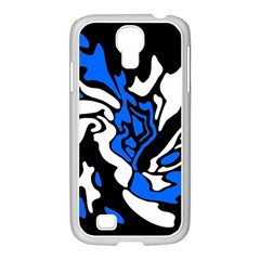 Blue, black and white decor Samsung GALAXY S4 I9500/ I9505 Case (White)