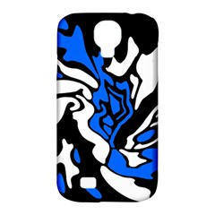Blue, black and white decor Samsung Galaxy S4 Classic Hardshell Case (PC+Silicone)