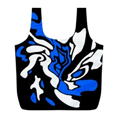 Blue, black and white decor Full Print Recycle Bags (L)