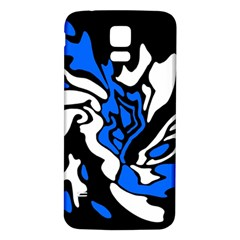 Blue, black and white decor Samsung Galaxy S5 Back Case (White)