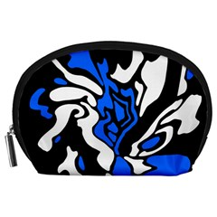 Blue, black and white decor Accessory Pouches (Large)