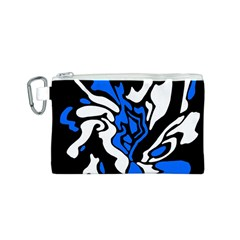 Blue, black and white decor Canvas Cosmetic Bag (S)