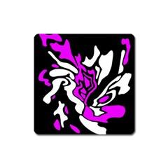 Purple, white and black decor Square Magnet