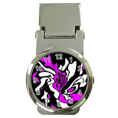 Purple, white and black decor Money Clip Watches