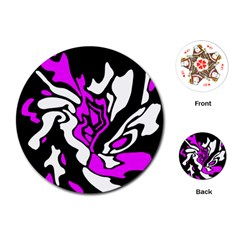 Purple, white and black decor Playing Cards (Round)