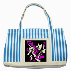 Purple, white and black decor Striped Blue Tote Bag