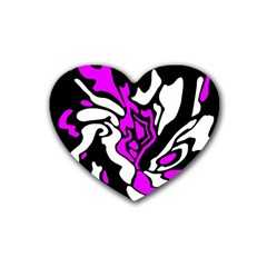 Purple, white and black decor Rubber Coaster (Heart)
