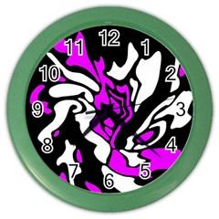 Purple, white and black decor Color Wall Clocks