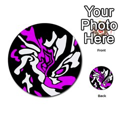 Purple, white and black decor Multi-purpose Cards (Round)