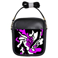 Purple, white and black decor Girls Sling Bags