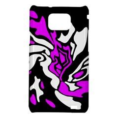 Purple, white and black decor Samsung Galaxy S2 i9100 Hardshell Case