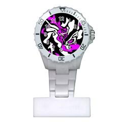 Purple, white and black decor Plastic Nurses Watch