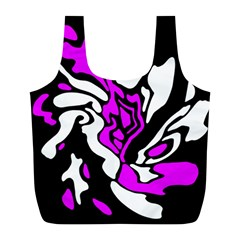 Purple, white and black decor Full Print Recycle Bags (L)