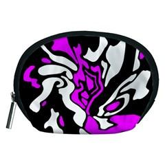 Purple, white and black decor Accessory Pouches (Medium)