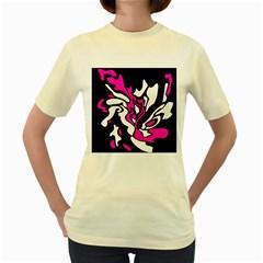 Magenta, black and white decor Women s Yellow T-Shirt