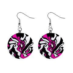 Magenta, black and white decor Mini Button Earrings