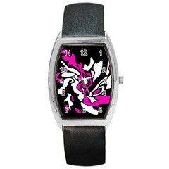 Magenta, black and white decor Barrel Style Metal Watch