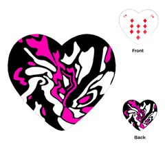 Magenta, black and white decor Playing Cards (Heart)