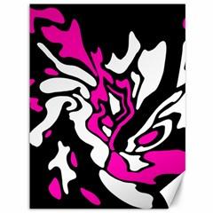Magenta, black and white decor Canvas 36  x 48