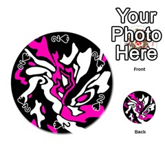 Magenta, black and white decor Playing Cards 54 (Round)