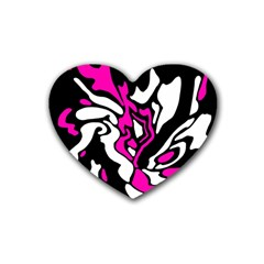 Magenta, black and white decor Heart Coaster (4 pack)