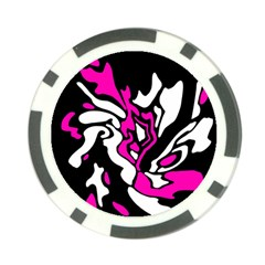 Magenta, black and white decor Poker Chip Card Guards