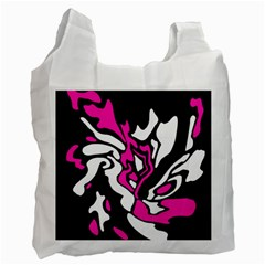 Magenta, black and white decor Recycle Bag (Two Side)