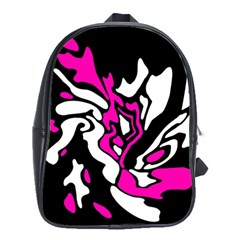 Magenta, black and white decor School Bags(Large)
