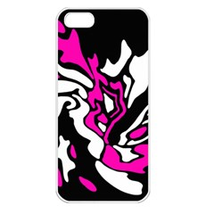 Magenta, black and white decor Apple iPhone 5 Seamless Case (White)