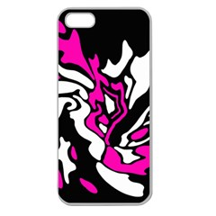 Magenta, black and white decor Apple Seamless iPhone 5 Case (Clear)