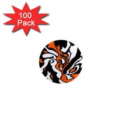 Orange, white and black decor 1  Mini Magnets (100 pack)