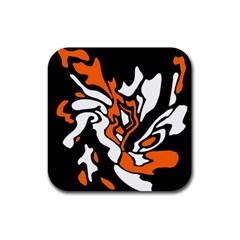 Orange, white and black decor Rubber Coaster (Square)