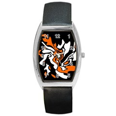 Orange, white and black decor Barrel Style Metal Watch