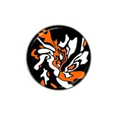 Orange, white and black decor Hat Clip Ball Marker (4 pack)