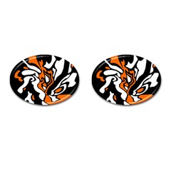 Orange, white and black decor Cufflinks (Oval)