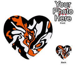 Orange, white and black decor Multi-purpose Cards (Heart)