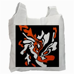 Orange, white and black decor Recycle Bag (Two Side)