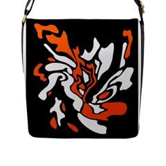 Orange, white and black decor Flap Messenger Bag (L)