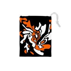 Orange, white and black decor Drawstring Pouches (Small)
