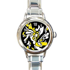 Yellow, black and white decor Round Italian Charm Watch