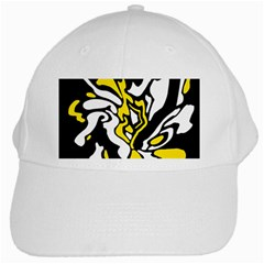 Yellow, black and white decor White Cap