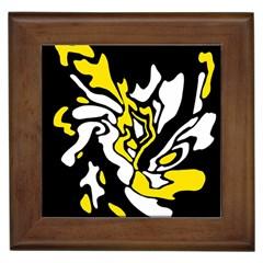 Yellow, black and white decor Framed Tiles