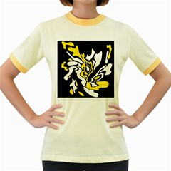Yellow, black and white decor Women s Fitted Ringer T-Shirts