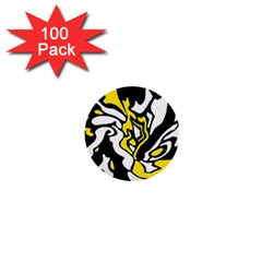Yellow, black and white decor 1  Mini Buttons (100 pack)