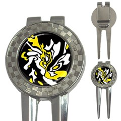 Yellow, black and white decor 3-in-1 Golf Divots