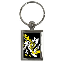 Yellow, black and white decor Key Chains (Rectangle)