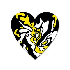 Yellow, black and white decor Heart Magnet