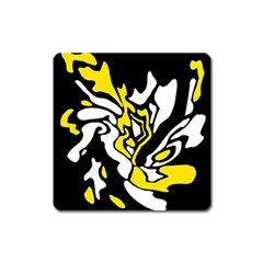 Yellow, black and white decor Square Magnet