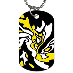 Yellow, black and white decor Dog Tag (One Side)
