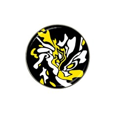 Yellow, black and white decor Hat Clip Ball Marker (4 pack)